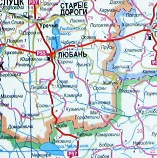 Солигорск на карте Белоруссии
