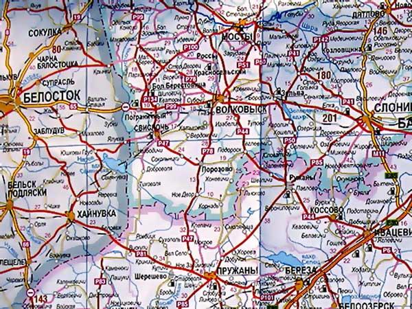 Ружаны на карте Беларуси