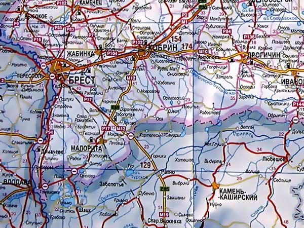 Карта Брестской области.