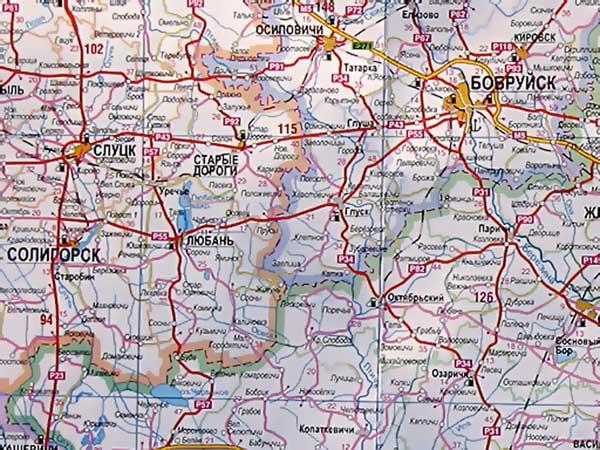 Карта Гомельской области.