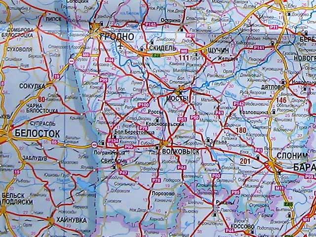 Карта Гродненской области.