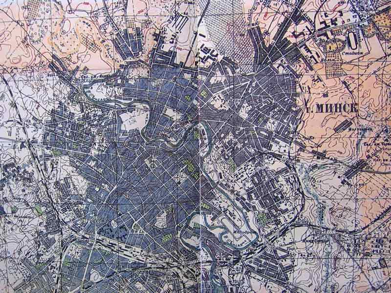Карта Минска года Карта довоенного Минска Историческая  Карта Минска 1930 года Карта Минска История Минска Расположение улиц центральной части Минска