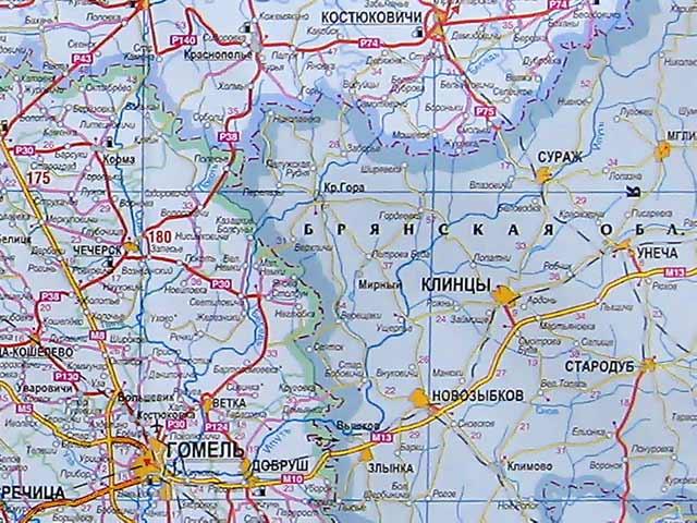 Краснополье На карте Беларуси