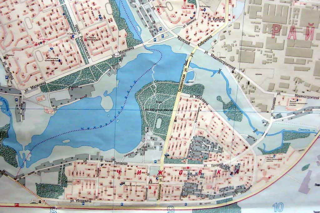 Чижовка-Арена на карте Минска