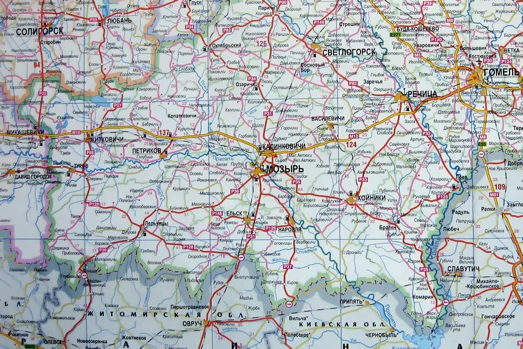 Лясковичи на карте Гомельской области