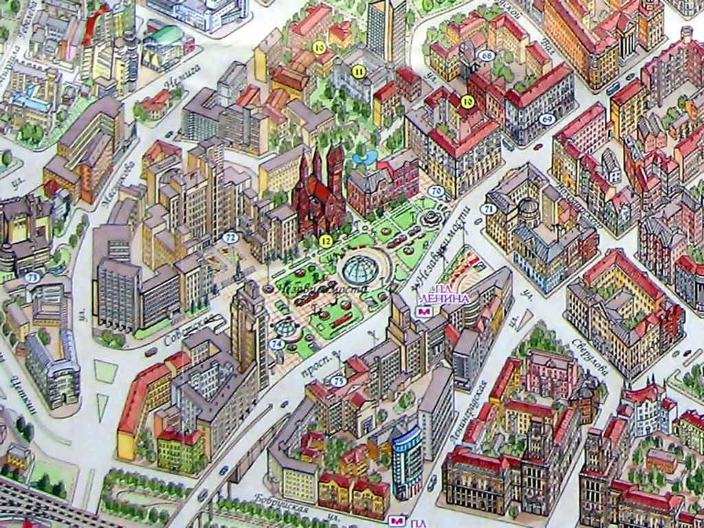 Дом правительства на карте Минска. Картинка. Фотография