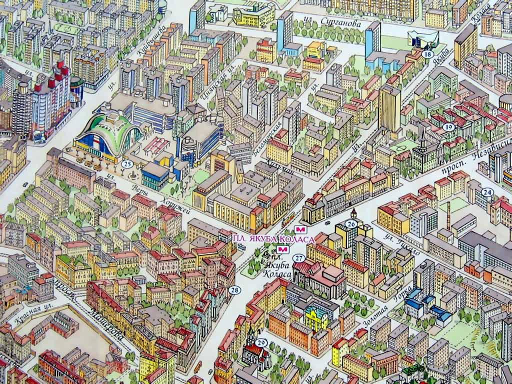Микрорайоны Минска на карте. Картинка. Фотография